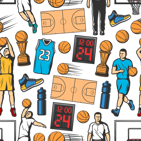 Basketball seamless pattern background with players and sport items. Orange ball, winner trophy cup and court, basket hoop, scoreboard, uniform jersey and sneakers. Sporting backdrop vector design Illustration