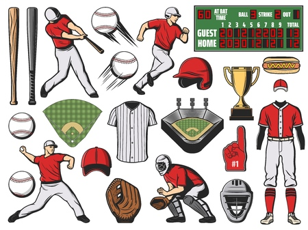 Baseball sport team players and softball game items. Bats, balls and base, trophy cup, stadium field and pitcher glove, batter uniform cap, helmet and jersey, homeplate and scoreboard vector icons Illustration