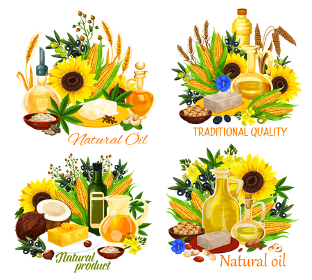 Natural oil vector icons of vegan food seasonings with vegetables, fruits, nuts and seed ingredients. Olives, sunflower and corn, rapeseed, canola and soy, peanut, coconut and walnut, hemp, sesame