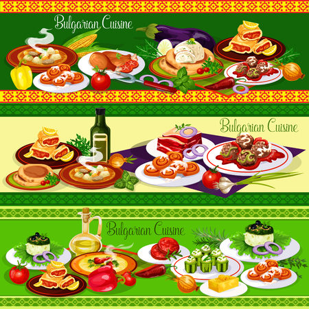 Bulgarian cuisine meat dishes with cheese, vegetables and fruit dessert. Beef pepper soup, yogurt salad, chicken and meatball, eggplant pate, stuffed cucumber, cake and roll buns. Food banners vector