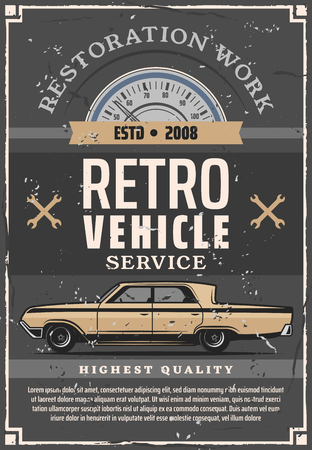 Retro car service of auto repair and vehicle restoration. Vector automobile with vintage speedometer, spanners and wrenches. Mechanic garage, tuning workshop and transport maintenance theme