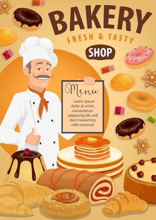 Baker con pane e pasticcini, disegno vettoriale del menu del negozio di panetteria. Croissant, baguette e panino di grano, torta, cupcake e muffin, ciambella, biscotto e torta, pancake, pan di zenzero e caramelle di gelatina con pasticcere Vettoriali