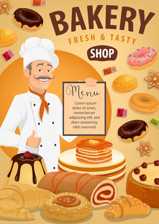 Baker with bread and pastries, bakery shop menu vector design. Croissant, baguette and wheat bun, cake, cupcake and muffin, donut, cookie and pie, pancake, gingerbread and jelly candy with pastry chef