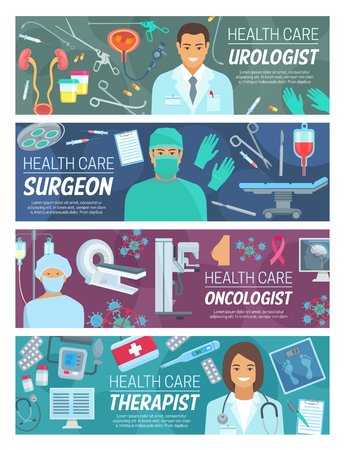 Doctors medical staff banners of medicine and healthcare vector theme. Surgeon, urologist, oncologist and physician therapist hospital personnel with surgery, urology and oncology tools and equipments Illustration