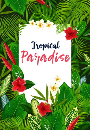 Hawaiian palm green leaves with hibiscus and plumeria flower, tropical vacation beach party invitation. Tropical paradise resort or travel agency banner with exotic floral frame