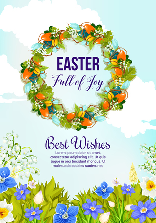 Easter wreath greeting card with painted egg and spring flower. Floral wreath of Easter egg, lily and snowdrop flower, daffodil, crocus and green grass for christian religion holiday banner design