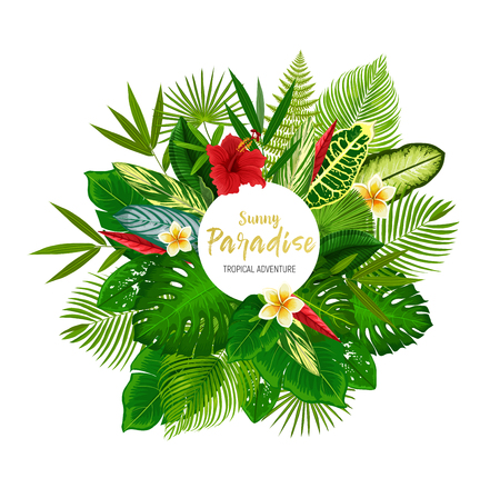 Tropical floral poster with exotic palm leaf and flower. Green foliage of jungle tree and plant frame with monstera, fern and bamboo, hibiscus, plumeria and strelitzia. Summer holiday card design