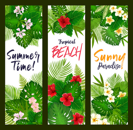 Tropical leaves and flowers banners. Green palm leaves, hawaiian hibiscus and plumeria flowers. Summer vacation and exotic travel design. Beach party invitation or exotic resort flyers Illustration
