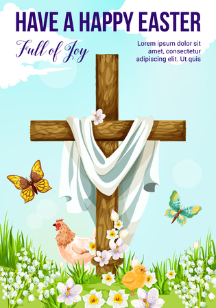 Easter cross with spring flower greeting card. Christian religion crucifix on sunny meadow with chicken, chick and butterfly, daffodil, lily and crocus flower for Easter Sunday and He Is Risen design
