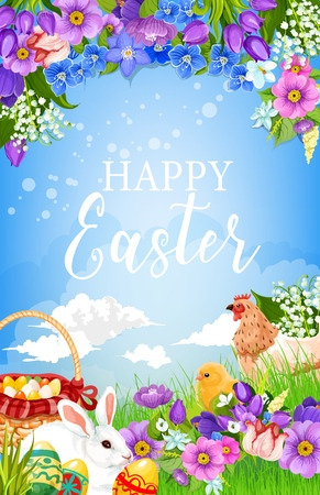 Easter eggs, bunny, chicken and chick on spring flower field vector greeting card. White rabbit with Easter egg basket on green grass with daffodils, crocuses, tulips and lilies, religion holiday
