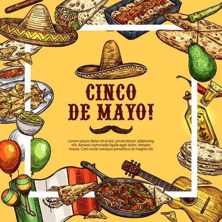 Manifesto di schizzo di vacanza messicana di Cinco de Mayo. Messico tradizionale festa simboli e cibo, sombrero messicano e piatti Cinco de Mayo guacamole, tacos o burrito e quesadilla