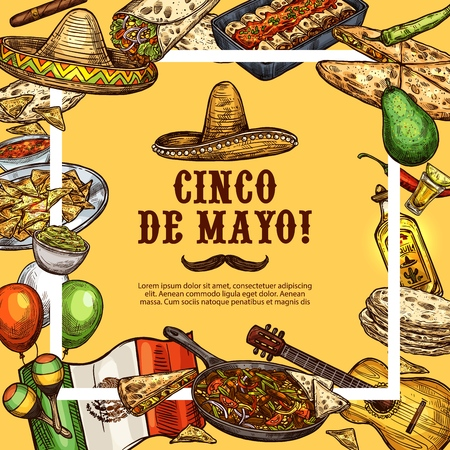 Cinco de Mayo Mexican holiday sketch poster. Mexico traditional fiesta celebration symbols and food, Mexican sombrero and Cinco de Mayo dishes guacamole, tacos or burrito and quesadilla