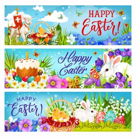 Felices conejitos de Pascua, huevos y pollitos vector pancartas de saludo de celebración de vacaciones de religión. Cestas de flores de primavera con pastel de Pascua, conejos blancos y pasto verde, cordero de Dios, cruz y narcisos