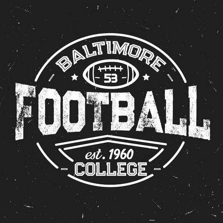 Football team retro shabby icon of baltimore college. Sport club with leather oval ball white outline. Sporting vintage monochrome stamp with item for game, students league vector isolated sign