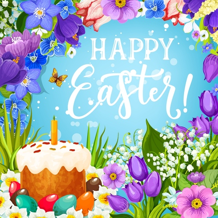 Easter cake and eggs in spring flower frame vector design. Christian religion Easter holiday painted eggs and sweet bread with candle, daffodils and tulips, green grass, butterfly and greeting wishes Illustration