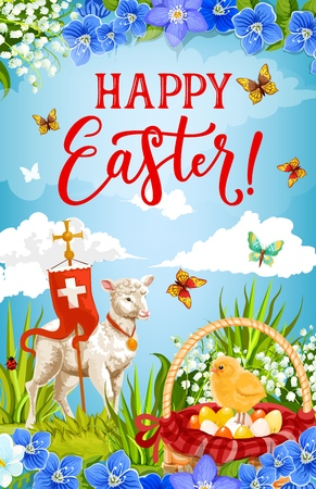 Easter eggs and chick in floral basket with lamb of God and cross vector greeting card, decorated with spring flowers, green grass and butterflies. Christian religion holiday celebration design