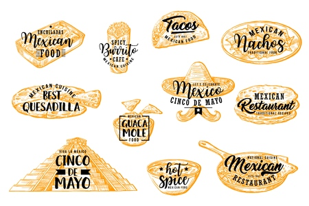 Cinco de Mayo vector icons of Mexican holiday traditional food and drink sketches with lettering greetings. Nachos, burrito and tacos, chili, salsa and guacamole sauces, tortilla and sombrero Иллюстрация