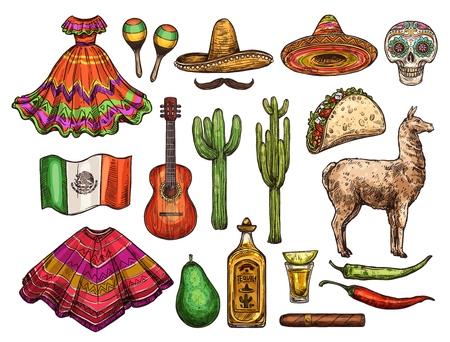 墨西哥文化素描符号,Cinco de Mayo庆祝。导航墨西哥阔边帽,旗子或雨披和龙舌兰酒的象与辣椒jalapeno,炸玉米饼或鲕梨和玛拉香或者节省礼服