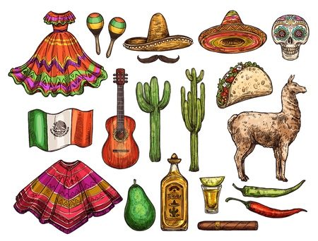 Mexican culture sketch symbols, Cinco de Mayo celebration. Vector icons of Mexican sombrero, flag or poncho and tequila with chili pepper jalapeno, taco or avocado and maracas or fiesta dress