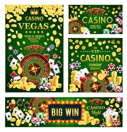 Casino, gambling game roulette and poker playing cards, dice, chips and golden coins, slot machine 777 and marquee board 3d vector. Entertainment, gaming industry and leisure activity themes