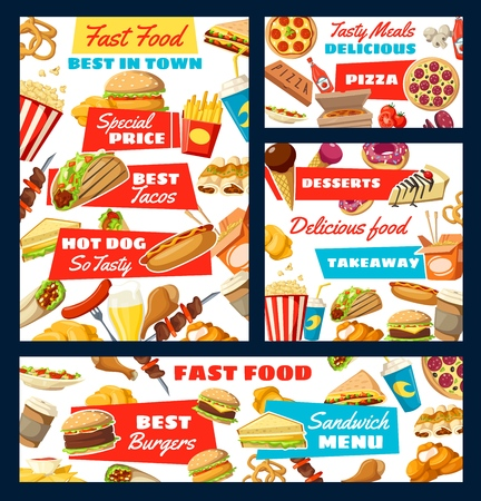 Fast food snacks and drinks menu. Vector italian pizza, mexican tacos and enchiladas, ice cream and hot dog, burger and chicken leg or nuggets. Barbecue and sandwich, donut and beer or soda