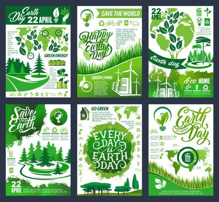 Bannière écologique du Jour de la Terre du concept Save Planet and Go Green. Affiche d'écologie et de protection de l'environnement, de recyclage et de conservation de la nature avec arbre vert, feuille et globe, carte du monde et symbole écologique Vecteurs