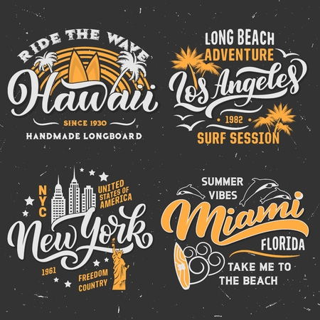 Surfing adventure club t-shirt design. Hawaii, Los Angeles in California or Miami and New York city. Vector retro design of surfer surfboard, water waves or summer palm beach and dolphins Illustration