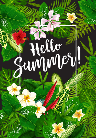 Hello Summer banner with frame of tropical palm leaves and flower.s Exotic floral poster with green branch of palm tree, plumeria and hibiscus