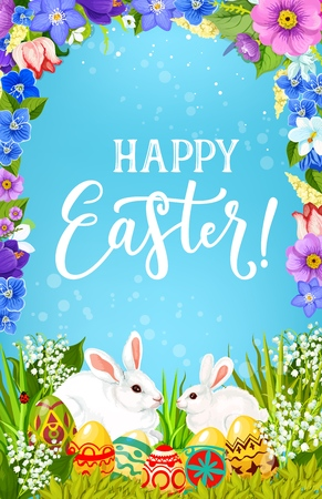 Easter religious holiday bunnies with eggs in green grass vector greeting poster, decorated with spring flower frame. White rabbits and painted eggs with floral wreath of tulips, lilies and daffodils