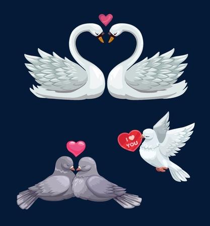 Coppie di uccelli di San Valentino innamorate icone vettoriali di cigni bianchi, colombe e piccioni con cuori. Vacanze di febbraio di amore romantico e romanticismo, biglietti di auguri o inviti di nozze