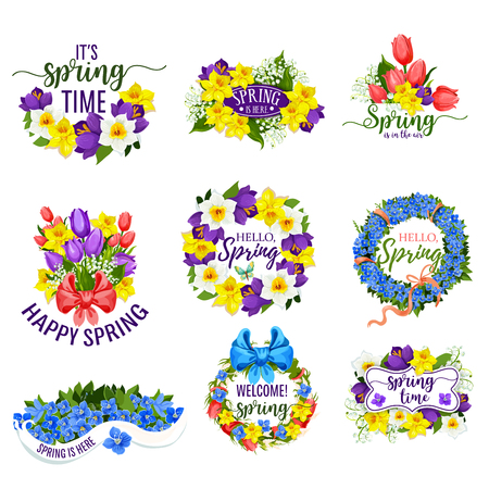 Hello Spring flowers and floral bunches. Vector blooming bouquets of springtime tulips, daffodils or crocuses, narcissus or lily of valley flower with bow ribbons. Design for spring holiday greeting Ilustração
