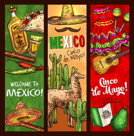 Cinco de Mayo Mexican traditional holiday or fiesta banners. Vector sketch Welcome to Mexico and Cinco de Mayo celebration symbols sombrero, pepper jalapeno and tequila, cigar and cactus or avocado Imagens - 115208563