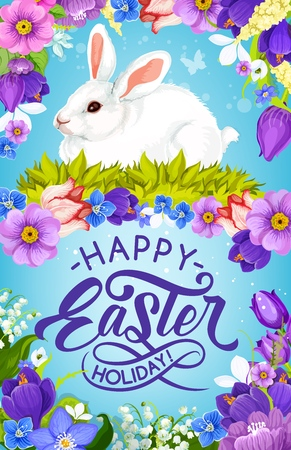 Easter bunny vector greeting card of christian religion holiday. White rabbit in floral frame of spring flowers, daffodils, tulips and green grass, crocus, lily of the valley and butterflies