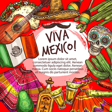 Viva Mexico Cinco de Mayo icons frame. Vector sombrero and poncho, guitar and tequila, maracas and flamenco dress. Cactus and chili pepper, skull with ornament, national flag, mustash and tortilla Illustration