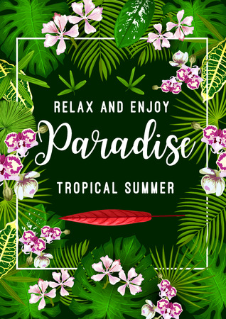 Tropical summer vacation and exotic travel poster with palm leaf and flower. Exotic jungle floral frame border with green monstera and palm tree leaves, orchid and strelitzia flower invitation design Illustration