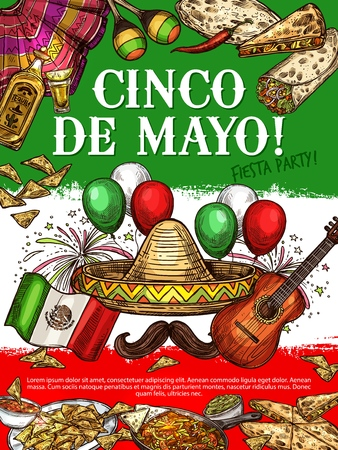 Cinco de Mayo day, Mexican holiday icons on national flag. Mexico cuisine dishes nachos and enchiladas, burrito and fajitas. Vector sombrero and mustache, guitar and tequila, maracas and ponch