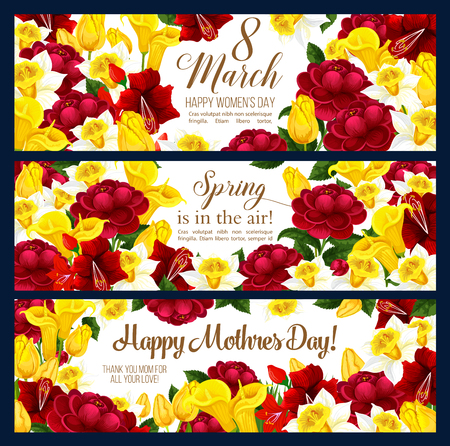 Happy Womens day 8 March banners or Mother Day greeting card of blooming flowers floral design. Vector seasonal holiday wishes, pink and red spring flowers bunches for Mothers Women day