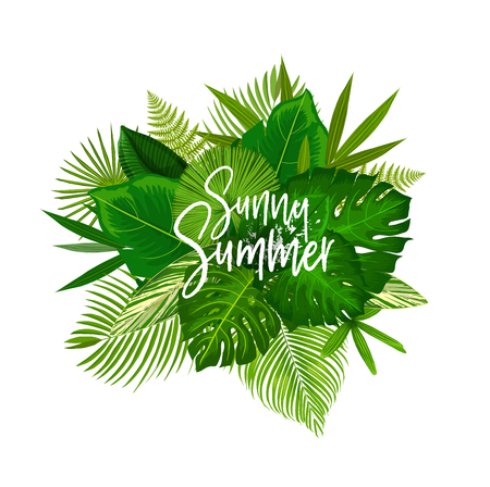 Exotic Sunny Summer poster with green leaves of tropical palm tree. Beach party invitation or summertime season holidays greeting card with monstera, fern and fan palm foliage