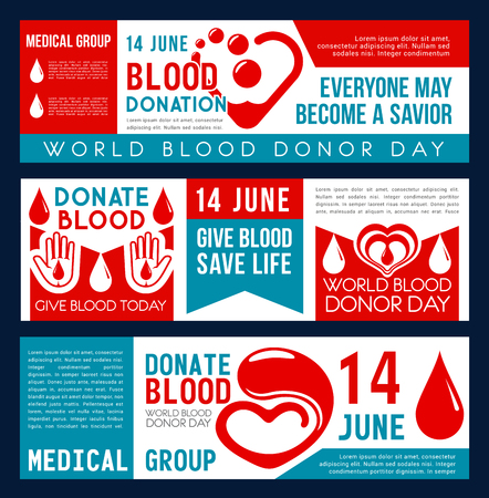 Blood donation and Donor Day banners for social responsibility and 14 June charity action event. Vector flat design of heart and blood drop for World Donation day and volunteering center