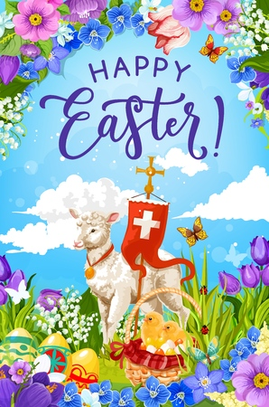 Christian religion lamb of God with cross, Easter greeting card vector design. Easter eggs and chicks in basket on spring flowers and green grass field with lilies, daffodils, tulips and butterflies