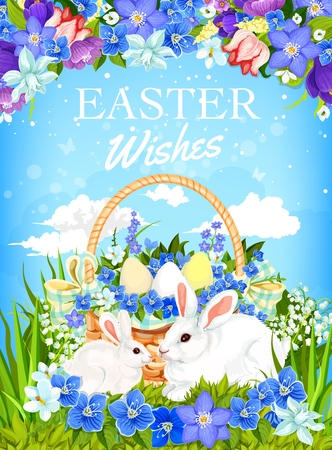 Easter egg basket with bunnies and spring flower frame vector design. White rabbits and painted eggs, christian religion holiday greeting card, decorated with green grass, daffodils and tulips