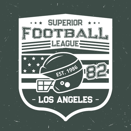 Football vintage grunge T-shirt print design of rugby ball and player helmet with American flag. Vector American Los Angeles football league or team badge