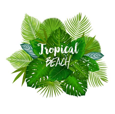 Tropisches Strandplakat mit einem Haufen grüner Palmblätter. Blatt exotischer Baum- und Dschungelpflanze mit Monstera, Fächerpalme, Bananenbaum und Farn für Sommerurlaub und Urlaubsdesign