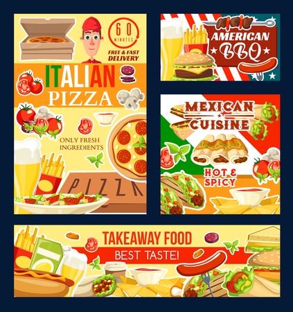 Restaurante de comida rápida, pizzas italianas y parrilladas, cocina mexicana y platos para llevar. Vector de papas fritas y cerveza, hamburguesas y salchichas, enchiladas y nachos. Hot dog y doner, taco y sandwich