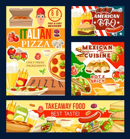 Fast food restaurant, Italian pizza and barbecue, Mexican cuisine and takeaway meals. Vector french fries and beer, burger and sausage, enchiladas and nachos. Hot dog and doner, taco and sandwich