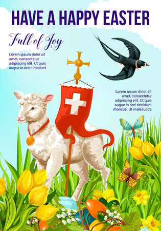 Happy Easter Holiday greeting banner for Spring Season celebration. Lamb of God on Easter Egg Hunt meadow with cross, daffodil and lily flower, flying butterfly and swallow bird festive card design