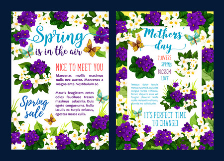 Spring sale offer banner for Springtime season and Mother Day holiday. Flower blossom of white jasmine and purple violet, green leaf and butterfly flyer design for discount card and retail themes Stockfoto - 126298084