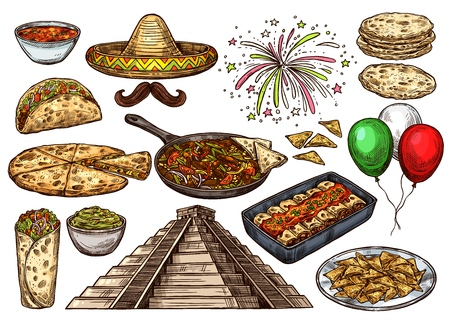 Cinco de Mayo Mexican holiday traditional food and fiesta celebration symbols. Vector sketch sombrero with tacos, nachos and burrito, quesadilla and tortilla with avocado guacamole