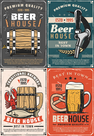 Beer house retro posters for pub or bar. Traditional brewery cards barrel, glass and wooden mug of refreshing beer with foam, faucet icon, opener and wheat. Vector snacks pretzel, crayfish and fish