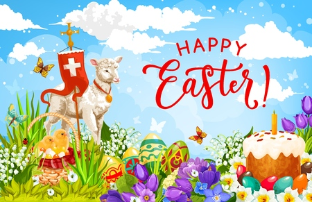 Happy Easter holiday vector design of painted eggs, chicks and cake, spring flowers and lab of God with cross. Resurrection Sunday holiday of christian religion greeting card